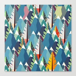 Mountains and Spruces Pattern Canvas Print