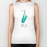 saxophone Biker Tanks featuring SAXophone by Onie O