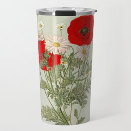 A country garden flower bouquet -poppies and daisies Travel Mug