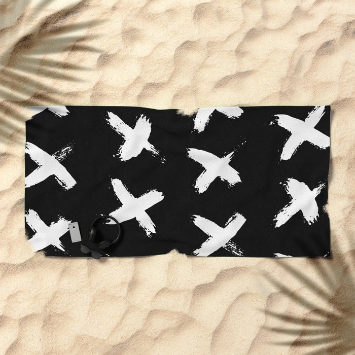 The X White on Black Beach Towel