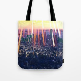 Lights Over New York City Skyline Tote Bag