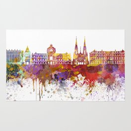 Strasbourg skyline in watercolor background Rug
