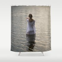 depression Shower Curtains featuring Dreaming in the water by Maria Heyens