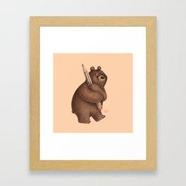 The Drawing Bear Framed Art Print