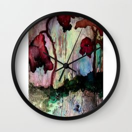 More Darkness Blooms - in Crimson Wall Clock