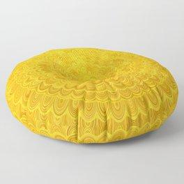 Golden Flower Mandala Floor Pillow