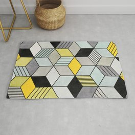 Colorful Concrete Cubes 2 - Yellow, Blue, Grey Rug