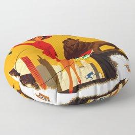 Vintage Chicago Illinois Travel Floor Pillow