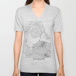 Auckland White Map Unisex V-Neck
