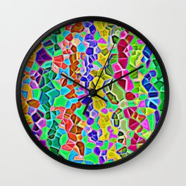Color rain realistic mozaic print Wall Clock