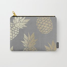 Tropical Pineapple, Gold and Gray, Abstract Pattern Carry-All Pouch