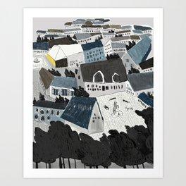 the blue village Art Print