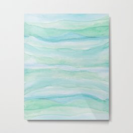 Blue Green Watercolor Layers Metal Print
