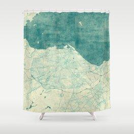 Edinburgh Map Blue Vintage Shower Curtain