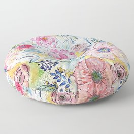 Watercolor hand paint floral design Floor Pillow