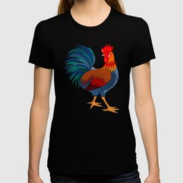 Rooster on Black T-shirt