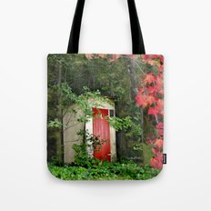 The Red Outhouse Door Tote Bag