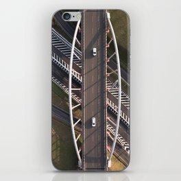 white cars crossing a white bridge iPhone Skin