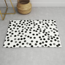 Abstract black, and gray circles on white background Rug