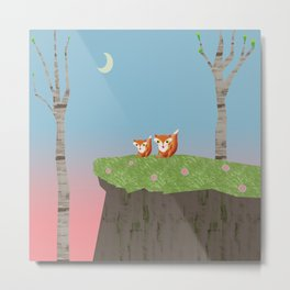 Mama Fox and Kit at Twilight Metal Print