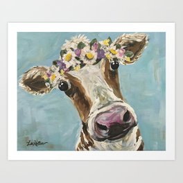 Flower Crown Cow Art, Cute Cow With Flower Crown Art Print