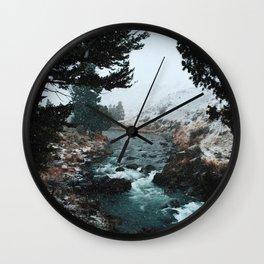 Rustic Creek in snow Wall Clock