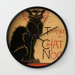 Le Chat Noir The Black Cat Poster by Théophile Steinlen Wall Clock