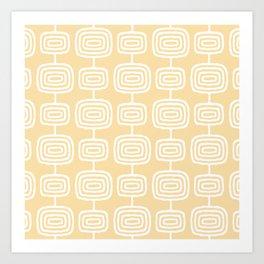 Mid Century Modern Atomic Rings Pattern 731 Cream Yellow Art Print