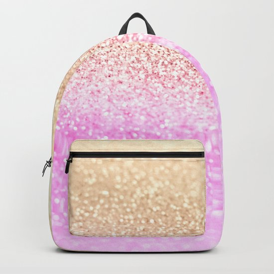 GOLD PINK GLITTER by Monika Strigel Backpack