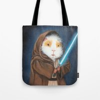 jedi Tote Bags featuring Jedi Guinea Pig by When Guinea Pigs Fly