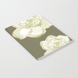 Brown,White Roses Notebook