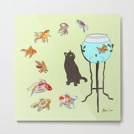 Cat and Goldfish Bowl Metal Print