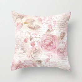 Vintage pastel pink brown butterfly floral typography Throw Pillow