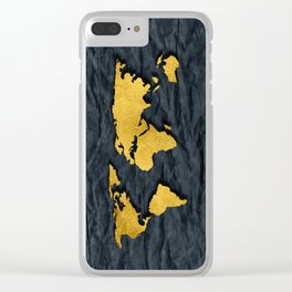 Metallic Gold Leaf Map on paper Clear iPhone Case
