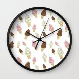 Neopolitan Ice Cream Cones Wall Clock
