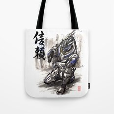 Garrus from Mass Effect sumie style with Japanese calligraphy Tote Bag