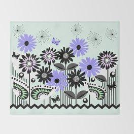 Trendy flowers & butterflies in purple, pink, green and B&W Throw Blanket