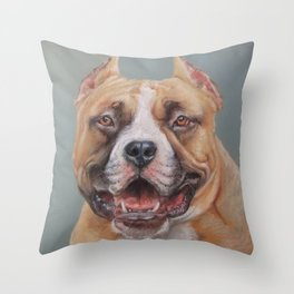 Happy Dog SMILING AMSTAFF FACE Cute pet portrait Pastel drawing Decor for Dog lover Throw Pillow