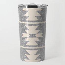 Southwestern Pattern 131 Grey and Beige Travel Mug