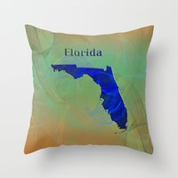 florida Throw Pillows featuring Florida Map by Roger Wedegis