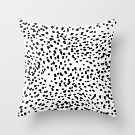 Nadia - Black and White, Animal Print, Dalmatian Spot, Spots, Dots, BW Throw Pillow