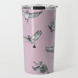 Birds in Flight in Pink and Grey Travel Mug