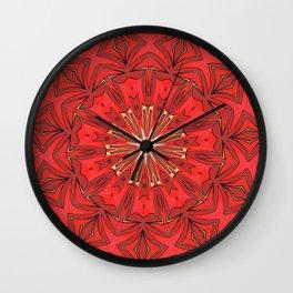 Red Bold Kaleidoscope Pattern Wall Clock