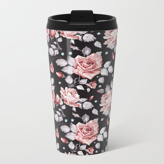 Vintage Pink Rose Flowers Metal Travel Mug