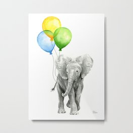 Elephant Watercolor Baby Animal with Balloons - Blue Yellow Green Metal Print