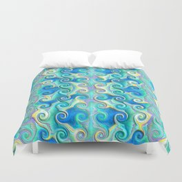 Seamless Wave Spiral Abstract Pattern Duvet Cover