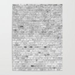 White Washed Brick Wall - Light White and Grey Wash Stone Brick Poster