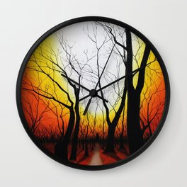 Sunset in the forest Wall Clock