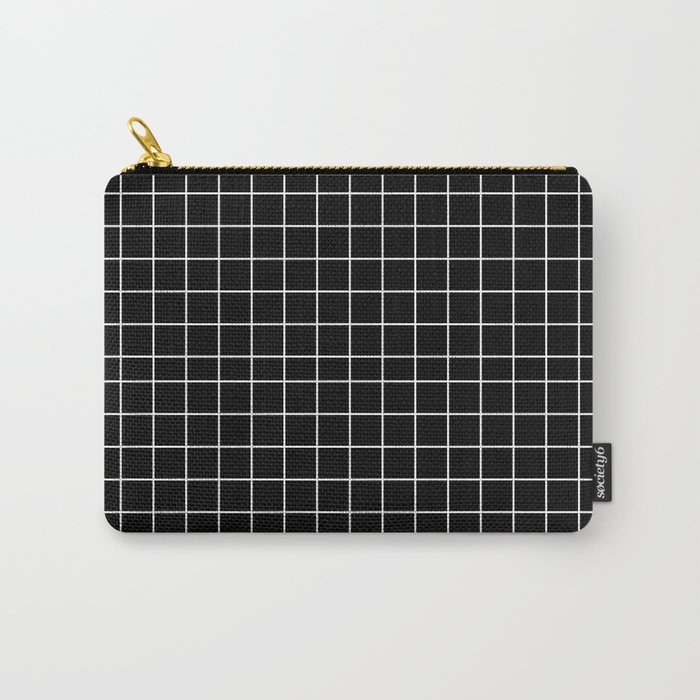 Black and White Geometric Grid Print Carry-All Pouch
