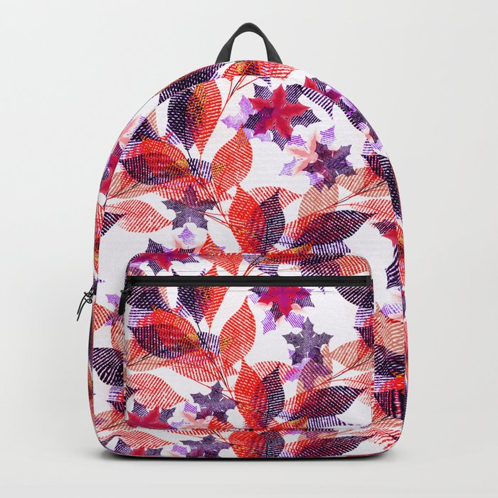 Red, or purple flowers and branches on a white background. Backpack